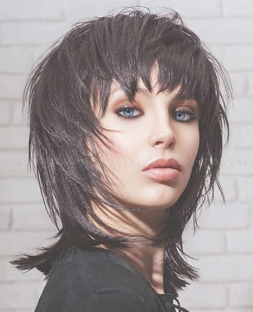 Medium Length Hairstyles For Straight Hair – Black Shaggy With 2018 Shaggy Medium Hairstyles (View 2 of 25)