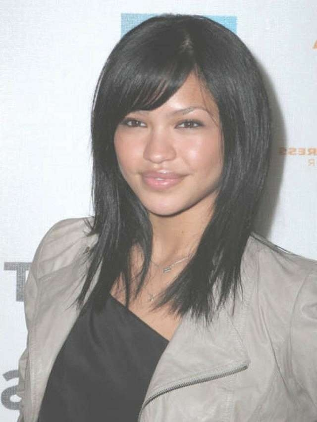 Medium Length Hairstyles With Bangs 2013 Inside Best And Newest Black Medium Hairstyles With Bangs And Layers (View 13 of 25)