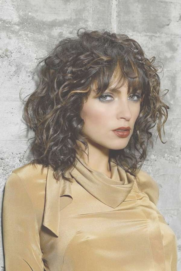 Medium Length Layered Haircuts For Wavy Hair With Bangs Inside Most Recently Curly Medium Hairstyles With Bangs (View 5 of 25)