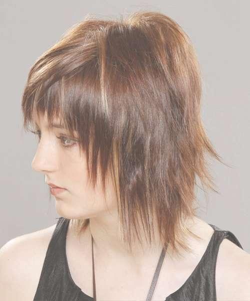 Medium Straight Alternative Hairstyle With Razor Cut Bangs In 2018 Razor Cut Medium Hairstyles (View 3 of 25)
