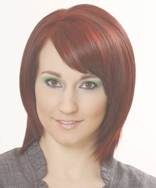 Medium Straight Formal Bob Hairstyle With Side Swept Bangs In Recent Red Medium Hairstyles (View 20 of 25)