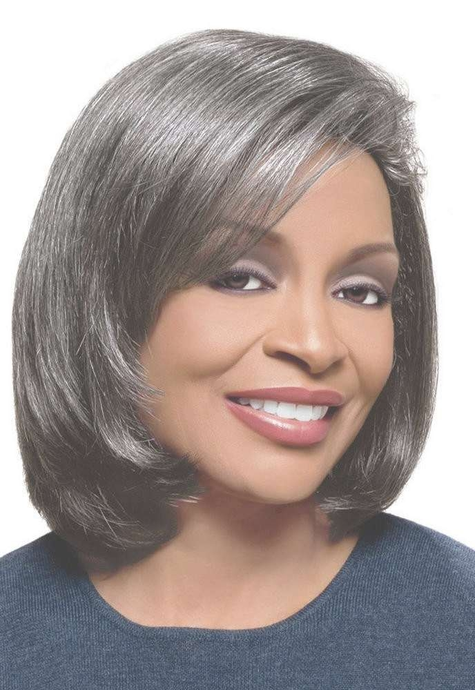 Medium Straight Grey Hair Wig For Black Women, Old Man Grey Wig Pertaining To Best And Newest Medium Hairstyles For Black Women With Gray Hair (View 2 of 15)