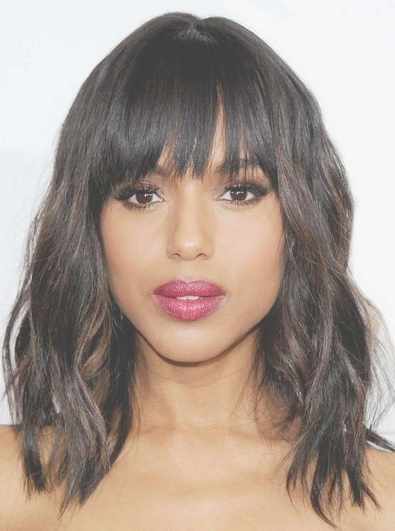 Medium Wavy Haircut With Bangs – Pretty Designs Inside Most Up To Date Medium Haircuts With Bangs And Layers (View 25 of 25)