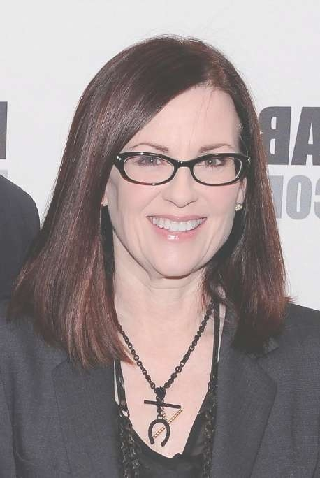 Megan Mullally Long Bob Hairstyle: Straight Hairstyle For Medium Within Most Recent Medium Haircuts With Glasses (View 21 of 25)