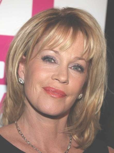Melanie Griffith In Antonio Banderas Receives The Gabi Lifetime With Regard To Best And Newest Fifties Medium Hairstyles (View 23 of 25)