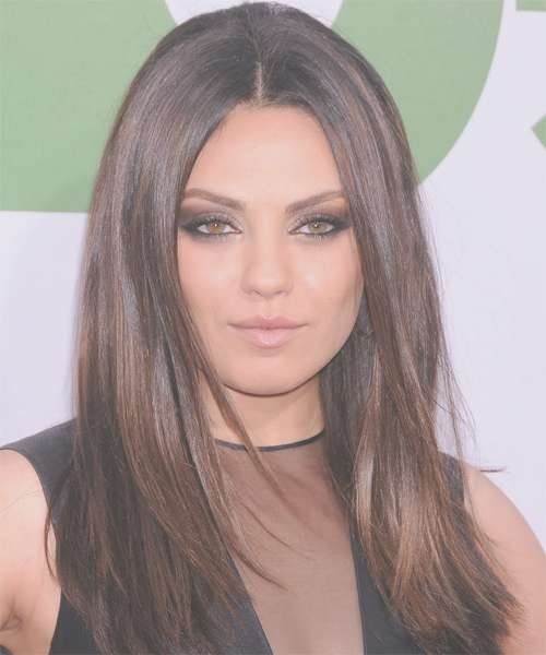 Mila Kunis Long Straight Casual Hairstyle – Dark Brunette In Newest Mila Kunis Medium Hairstyles (View 3 of 25)