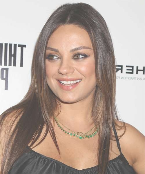 Mila Kunis Long Straight Casual Hairstyle – Medium Brunette Hair Color For Best And Newest Mila Kunis Medium Hairstyles (View 6 of 25)