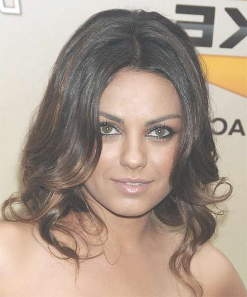 Mila Kunis Long Wavy Formal Hairstyle – Dark Brunette Hair Color Pertaining To 2018 Mila Kunis Medium Hairstyles (View 24 of 25)