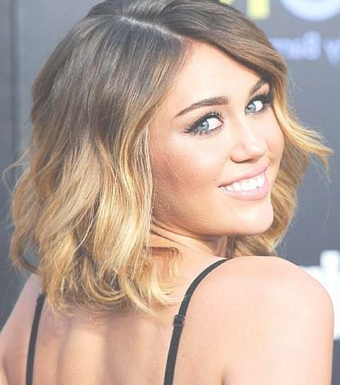 Miley Cyrus Hairstyles: Ombre Medium Waves – Pretty Designs Inside Recent Miley Cyrus Medium Haircuts (View 4 of 25)