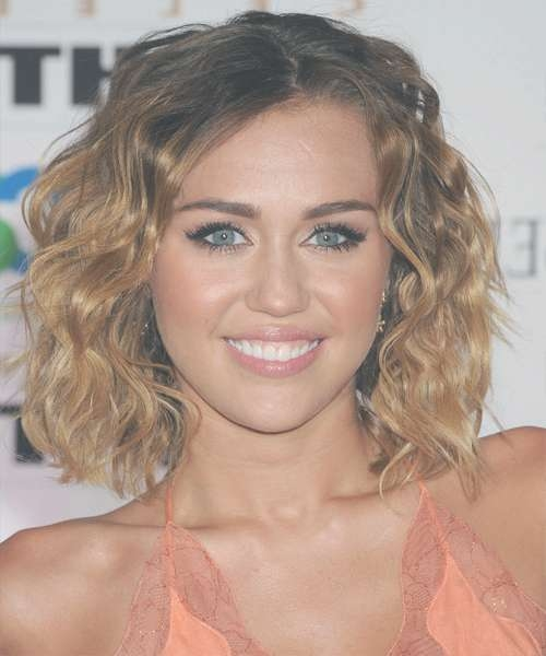 Miley Cyrus Medium Wavy Casual Bob Hairstyle – Dark Brunette Hair Within Most Recently Miley Cyrus Medium Hairstyles (View 17 of 25)