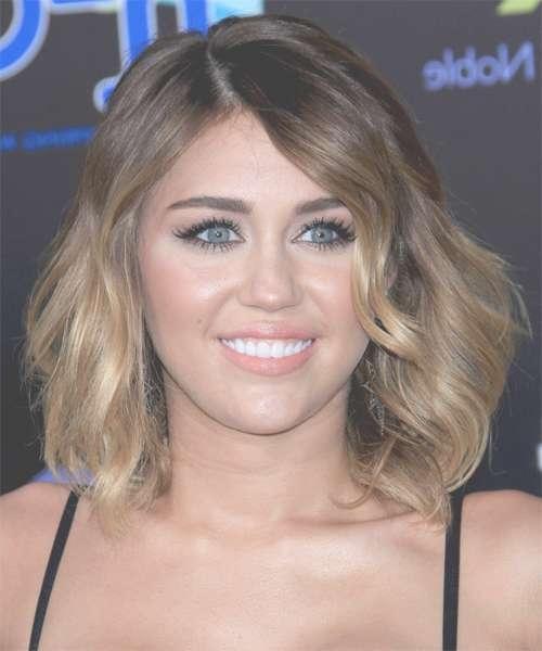 Miley Cyrus Medium Wavy Casual Hairstyle – Medium Brunette Hair Color For Most Popular Miley Cyrus Medium Hairstyles (View 2 of 25)