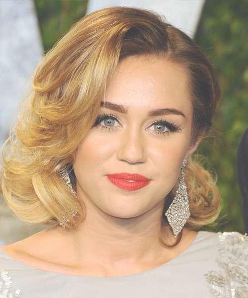 Miley Cyrus Medium Wavy Formal Hairstyle – Medium Blonde (Golden) Pertaining To 2018 Miley Cyrus Medium Haircuts (View 11 of 25)