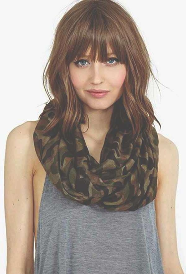 Featured Photo of Medium Hairstyles For Round Faces With Bangs