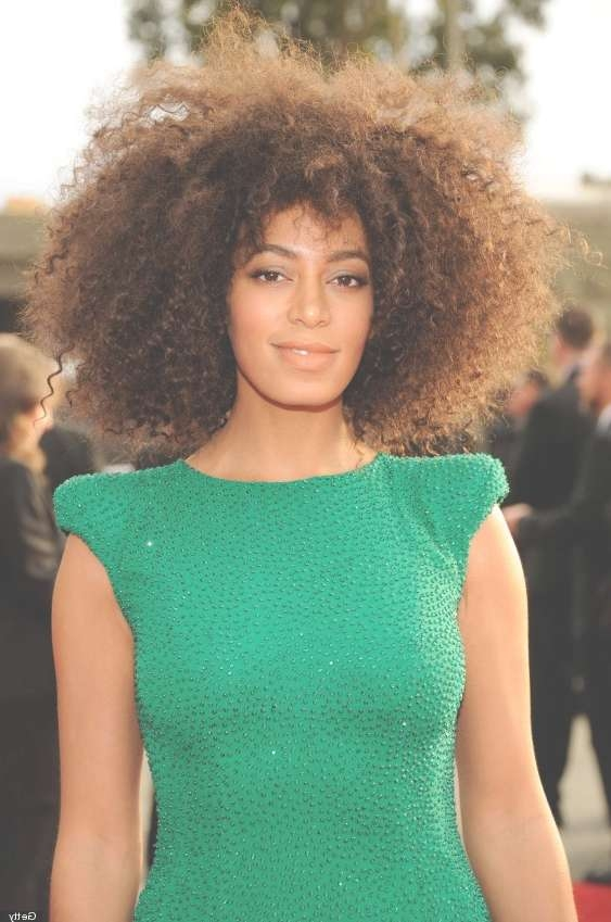 Natural Curly Hairstyle For Medium Length Hair – Solange Knowles With 2018 Medium Haircuts For Natural African American Hair (View 21 of 25)
