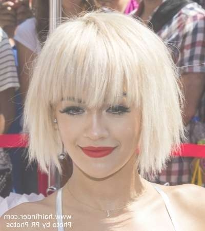 New Medium Hairstyles Elegant Rita Ora Platinum Blonde Hair In A Within Most Recently Rita Ora Medium Hairstyles (View 7 of 15)