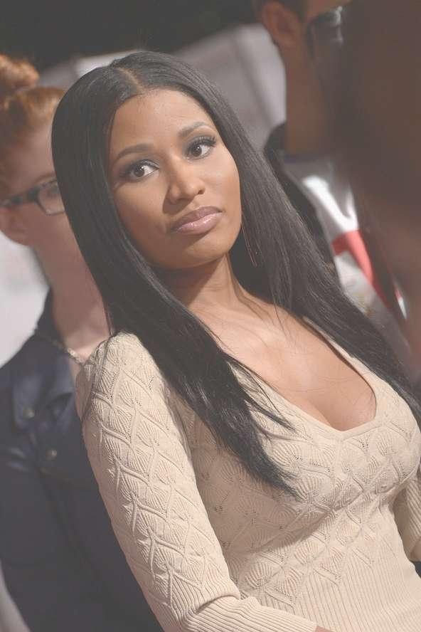 Nicki Minaj Center Parted Long Sleek Black Hairstyle For Black With Newest Nicki Minaj Medium Haircuts (View 9 of 25)