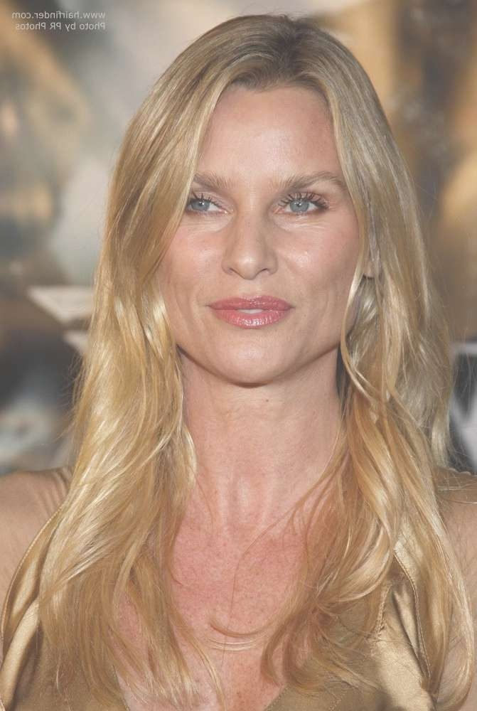 Nicollette Sheridan With Long Golden Blonde Hair And Wearing A Inside 2018 Medium Haircuts For High Cheekbones (View 17 of 25)