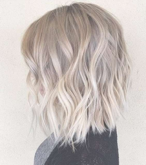 Ombre, Balayage Hairstyles For Medium Hair - Layered, Wavy Lob with regard to Newest Medium Hairstyles With Balayage