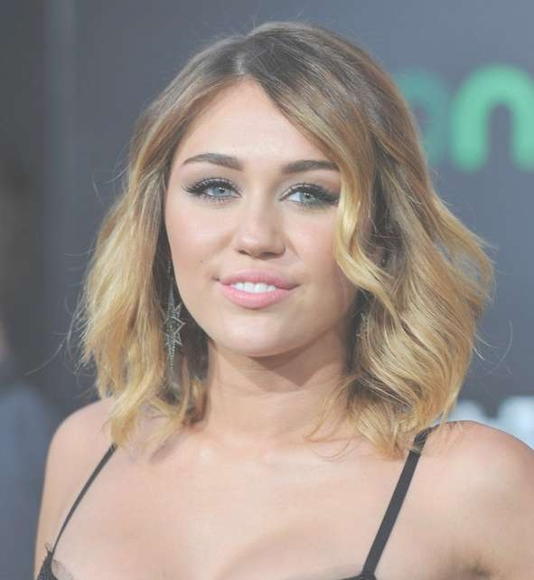 Ombre Bob Hairstyle: Miley Cyrus Medium Ombre Wavy Hairstyle With Most Current Miley Cyrus Medium Haircuts (View 14 of 25)