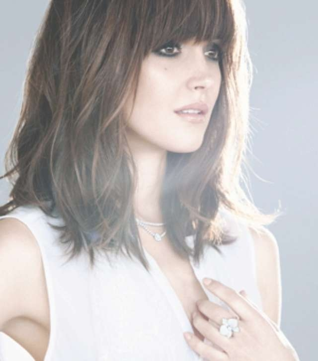 On Medium Length Hairstyle inside Most Current Medium Haircuts Styles With Bangs