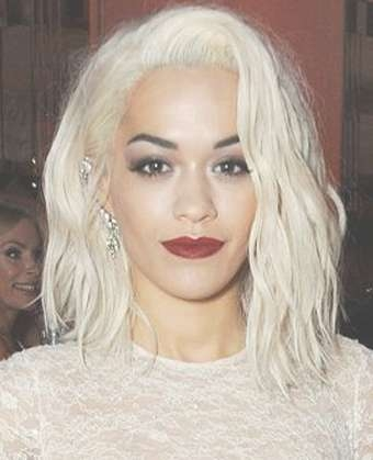Ora's Platinum Mid Length Hairstyle Within Recent Rita Ora Medium Hairstyles (View 8 of 15)