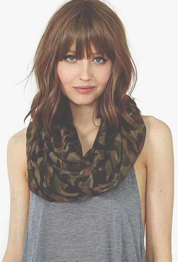 Photo Gallery Of Long Hairstyles With Bangs For Round Faces In Most Current Medium Hairstyles With Bangs For Round Faces (View 22 of 25)