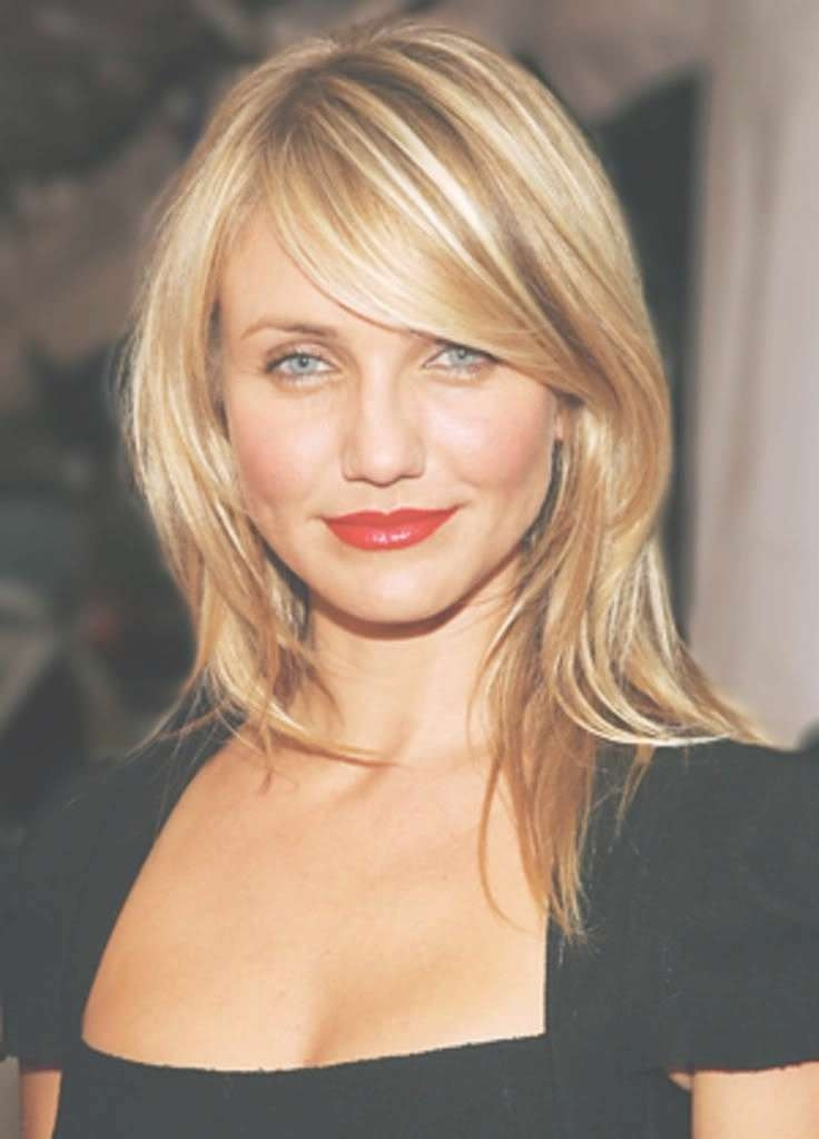 Photo Gallery Of Long Hairstyles With Side Bangs For Round Faces With Best And Newest Medium Hairstyles With Side Bangs For Round Faces (View 9 of 25)
