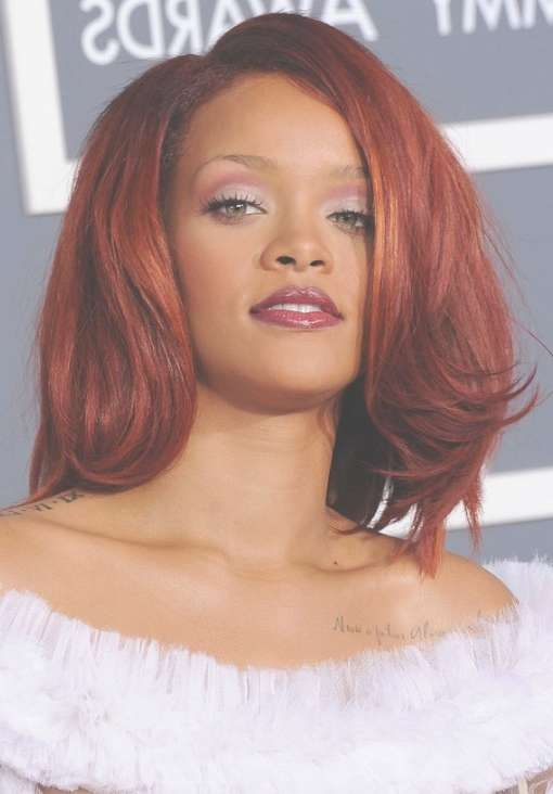 Rihanna Hairstyles: Medium Cherry Red Hair – Hairstyles Weekly Pertaining To Recent Medium Hairstyles For Red Hair (View 23 of 25)