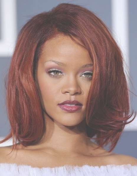 Rihanna Medium Red Bob Hairstyles With Volumes – Hairstyles Weekly Inside Most Recently Red Medium Hairstyles (View 23 of 25)