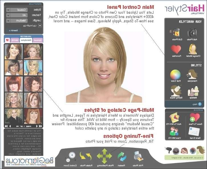 Round Face Hairstyles – Upload Your Photo, Test Hair Styles Inside Best And Newest Medium Hairstyles For Round Chubby Faces (View 13 of 25)