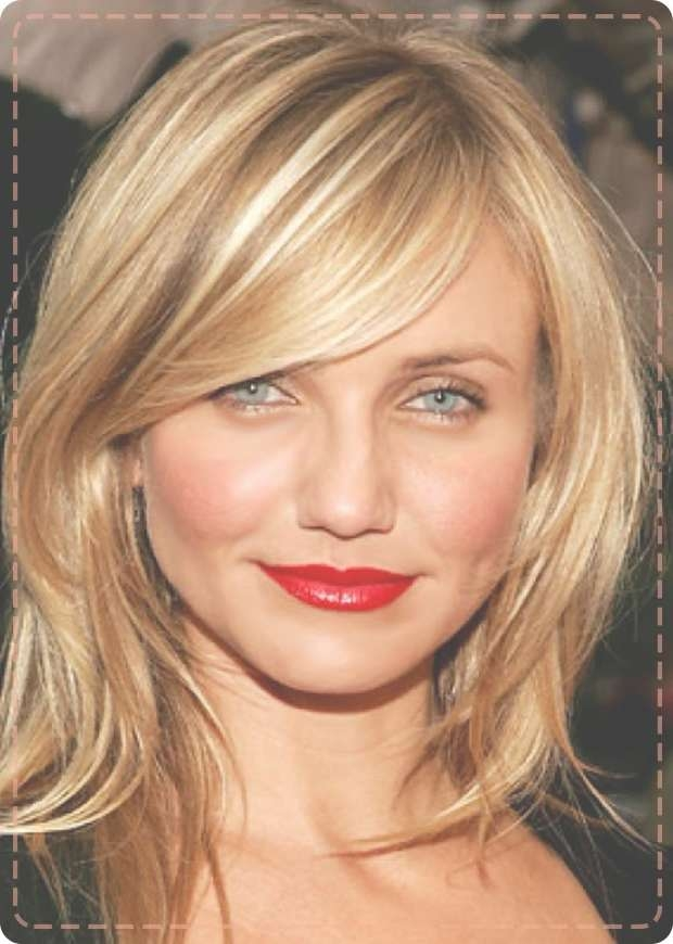 Round ~ Medium Hairstyles Gallery 2017 Inside Most Recently Medium Hairstyles With Side Bangs For Round Faces (View 19 of 25)