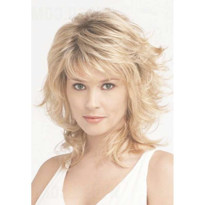 Shaggy Layered Mid Length Wispy Bang Haircut Synthetic Hair For Most Recently Medium Haircuts With Wispy Bangs (View 21 of 25)