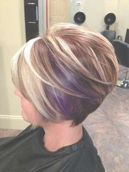 Short Graduated Bob Hairstyle With Purple For Medium To Thick Hair Intended For Best And Newest Graduated Medium Haircuts (View 16 of 25)