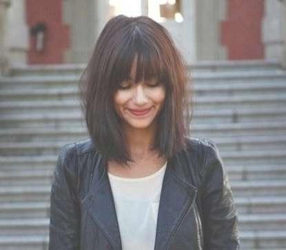 Short Hair With Bangs   Hair   Pinterest   Shoulder Length Hair For Latest Full Fringe Medium Hairstyles (View 5 of 25)