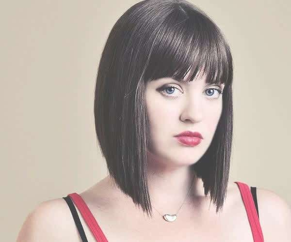 Short Hairstyles: Black Straight Medium Bob Haircut With Bangs Inside Most Recent Medium Hairstyles With Straight Bangs (View 21 of 25)