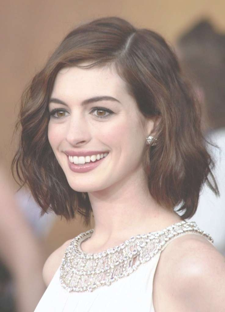 Photo Gallery Of Medium Haircuts For Wavy Hair And Round Faces