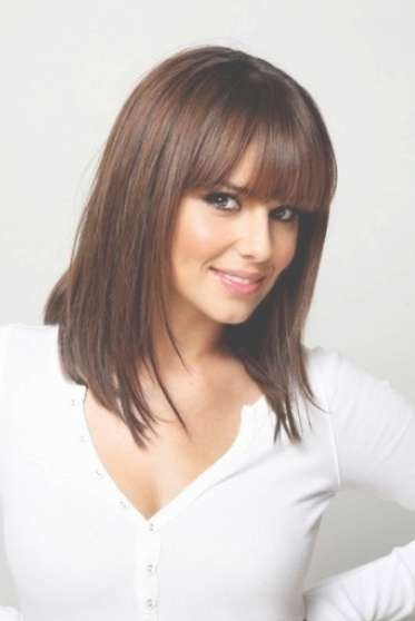 Shoulder Length Straight Hairstyle With Blunt Bangs – Hairstyles Pertaining To Current Medium Haircuts With Straight Bangs (View 7 of 25)
