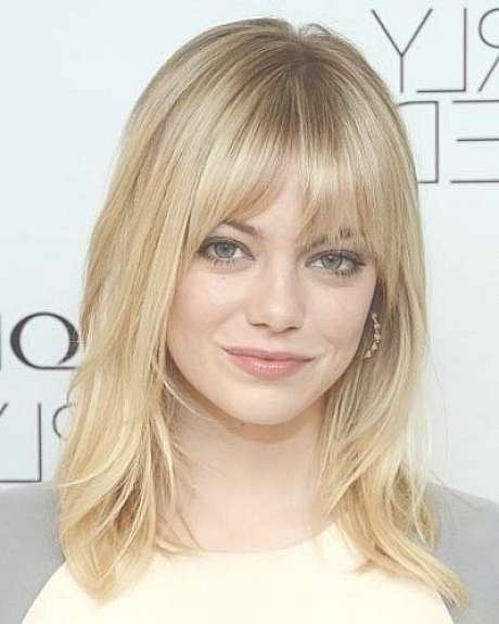 Shoulder Length Thin Hairstyles For Blonde Hair Color With Throughout Current Medium Hairstyles With Bangs For Oval Faces (View 25 of 25)