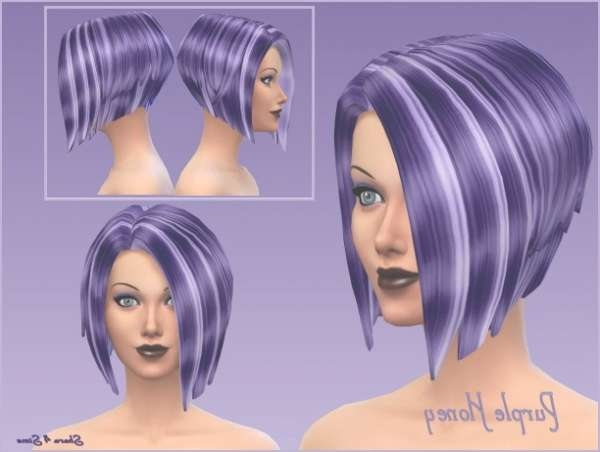 Sims 4 Hairs ~ Shara 4 Sims: Purple Honey Hairstyle Recolored Intended For Latest Purple Medium Hairstyles (View 14 of 25)