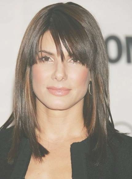 Straight Hairstyle With Side Swept Bangs Throughout Latest Medium Haircuts Side Swept Bangs (View 9 of 25)