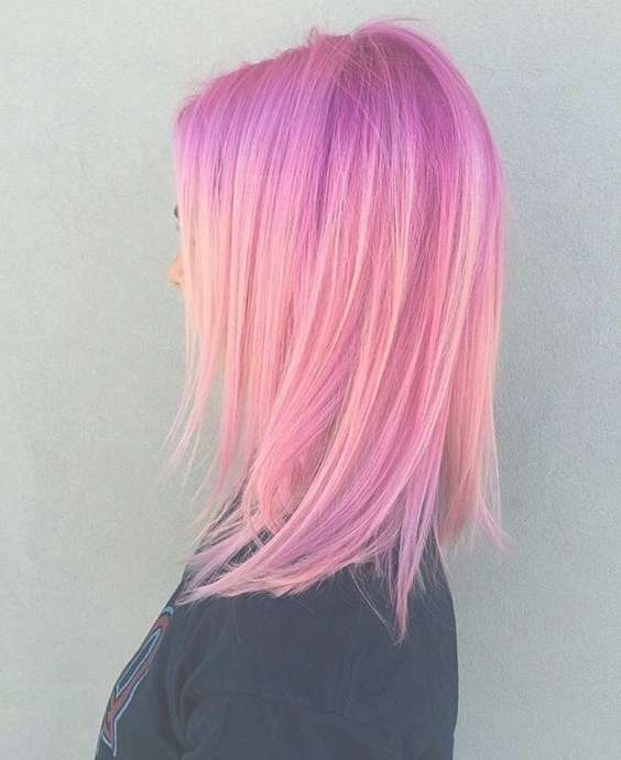 Straight, Medium Hairstyles For Thick Hair – Hair Color Ideas With Regard To Most Popular Pink Medium Hairstyles (View 7 of 15)