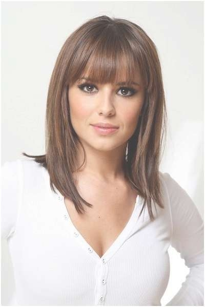 Straight, Medium Hairstyles With Blunt Bangs: Easy Haircuts Inside Best And Newest Medium Hairstyles With Bangs (View 9 of 25)