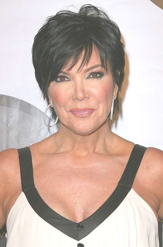 Summer Short Haircut For Women Over 50: Dark Pixie With Fringe Within Most Popular Medium Haircuts Kris Jenner (View 2 of 25)