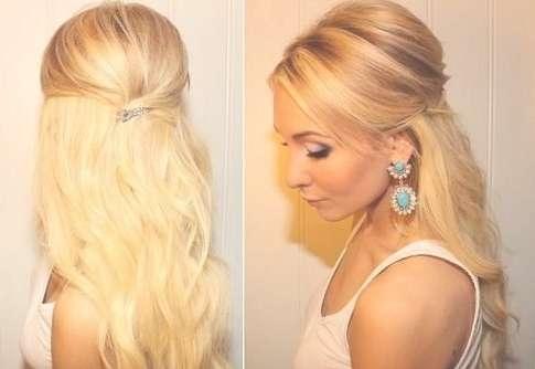 Teased Half Up Half Down Hairstyle Tutorial: Easy Prom Hairstyles In Newest Teased Medium Hairstyles (View 6 of 15)