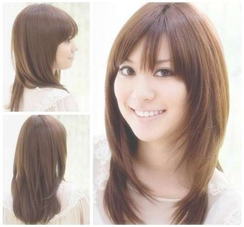 The 25+ Best Korean Hairstyle Medium Round Faces Ideas On Intended For Current Medium Hairstyles With Bangs For Round Faces (View 24 of 25)