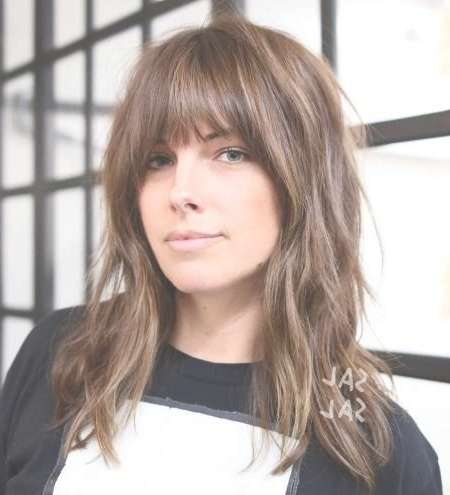 The 25+ Best Medium Hairstyles With Bangs Ideas On Pinterest Intended For Most Current Medium Haircuts With Longer Bangs (View 10 of 22)