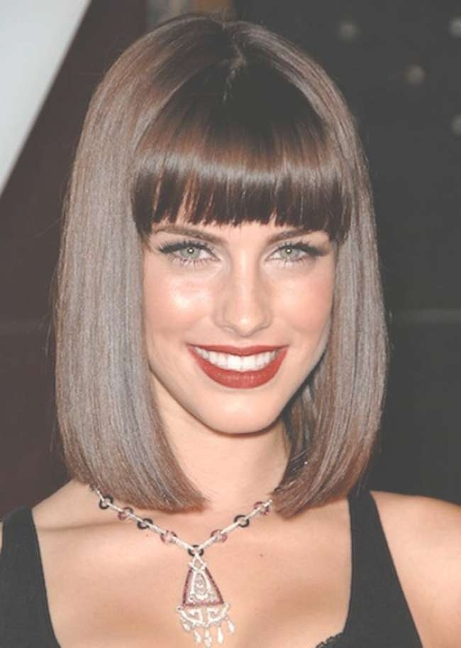 The Full Fringe Medium Hairstyles With Thick Bangs To Try With Regarding 2018 Full Fringe Medium Hairstyles (View 24 of 25)