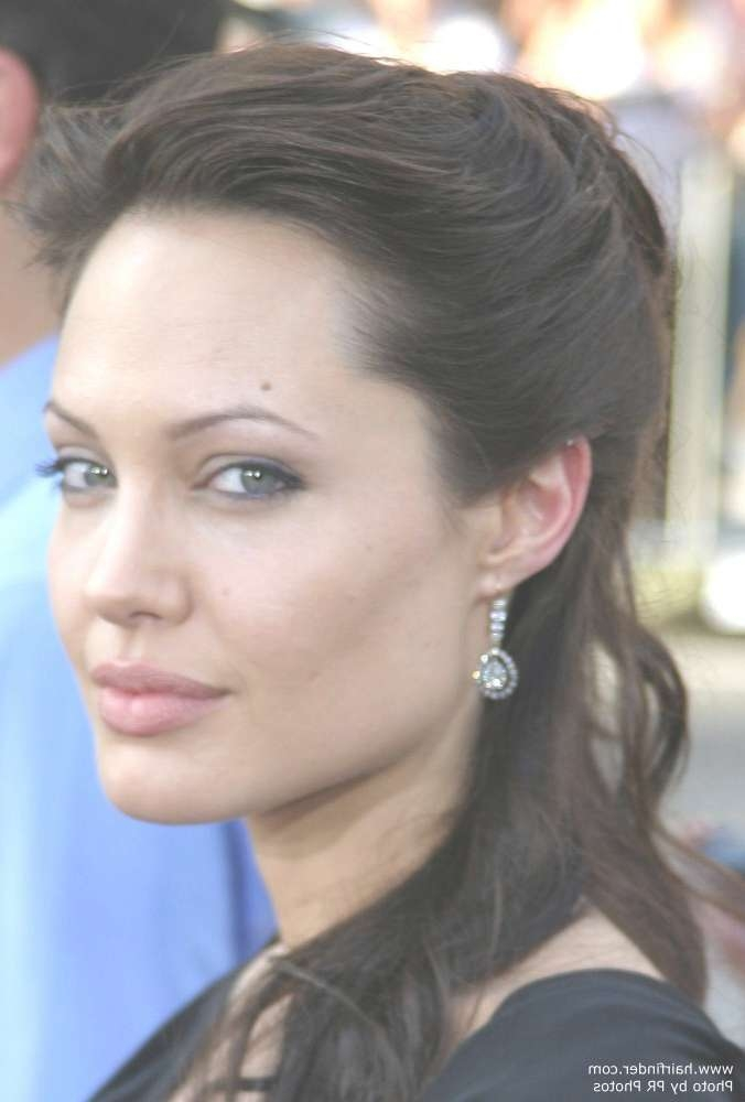 The Oval Face Shape Of Angelina Jolie And The Hairstyles She Can Wear In Most Current Medium Hairstyles For High Cheekbones (View 5 of 15)