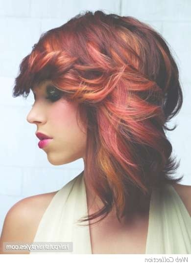 Tonal Red Medium Hair Style For Most Up To Date Medium Hairstyles For Red Hair (View 11 of 25)