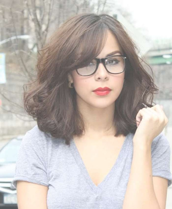 Top 30 Hairstyles With Bangs And Glasses, The Perfect Combination Intended For Most Recent Medium Haircuts For Girls With Glasses (View 9 of 25)